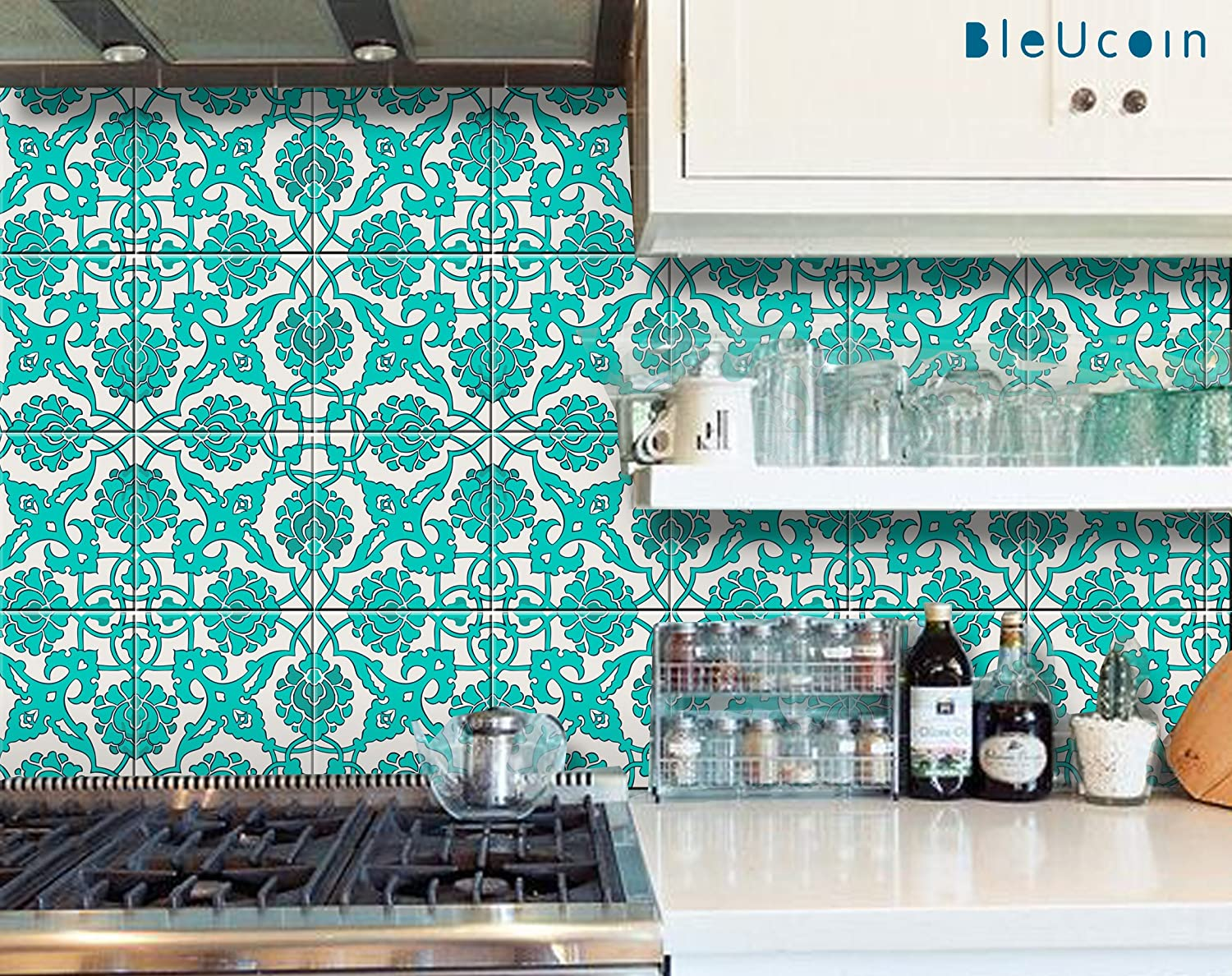 Amazon.com: Teal Tile Stickers in Indian Style for Kitchen Bathroom ...