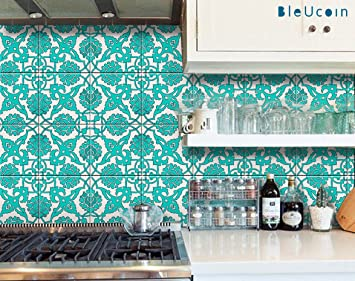 Teal Tile Stickers In Indian Style For Kitchen Bathroom Backsplash Stair Riser Peel And Stick