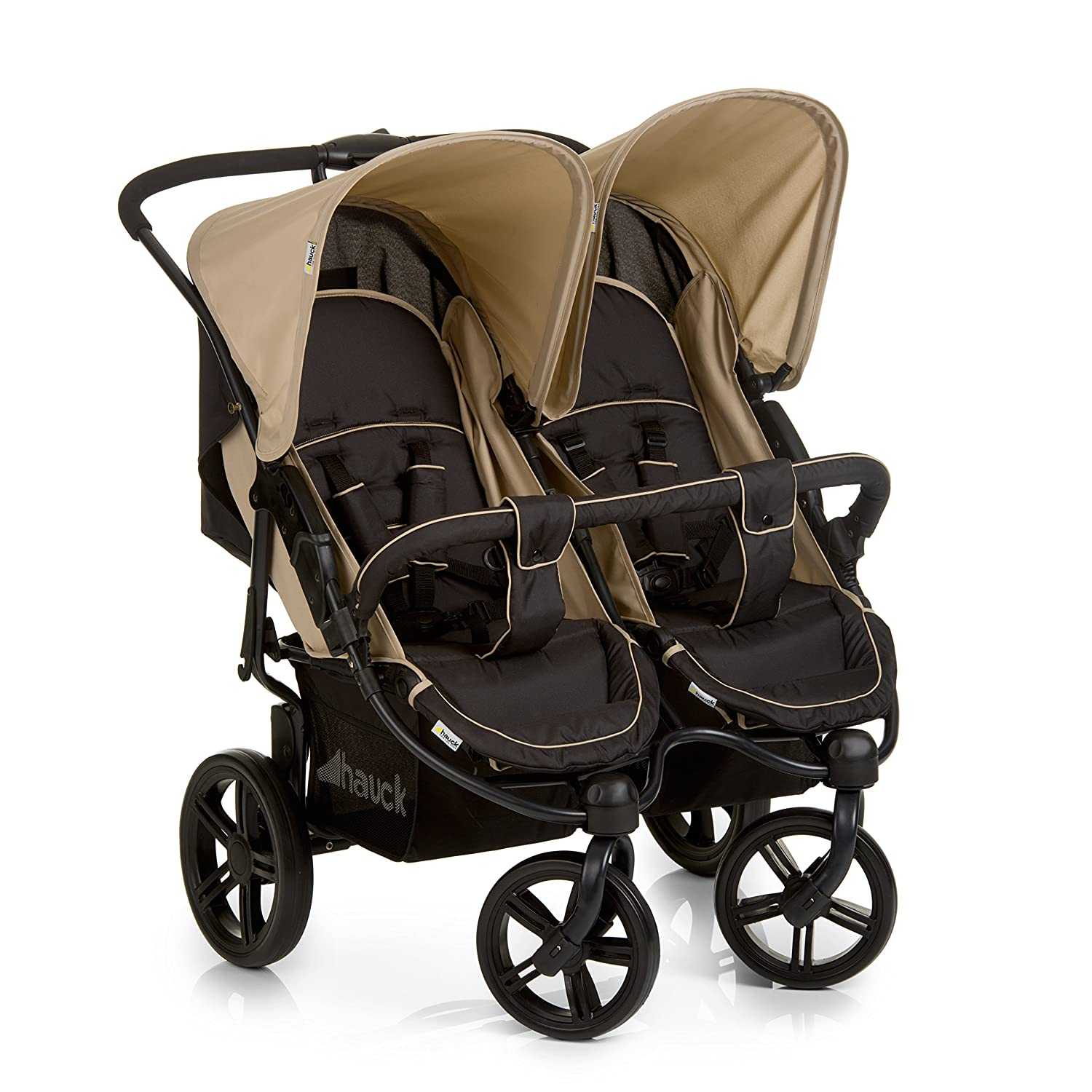 Hauck Roadster Duo SLX Side by Side Double Pushchair, from Birth, Black/Beige H-51216