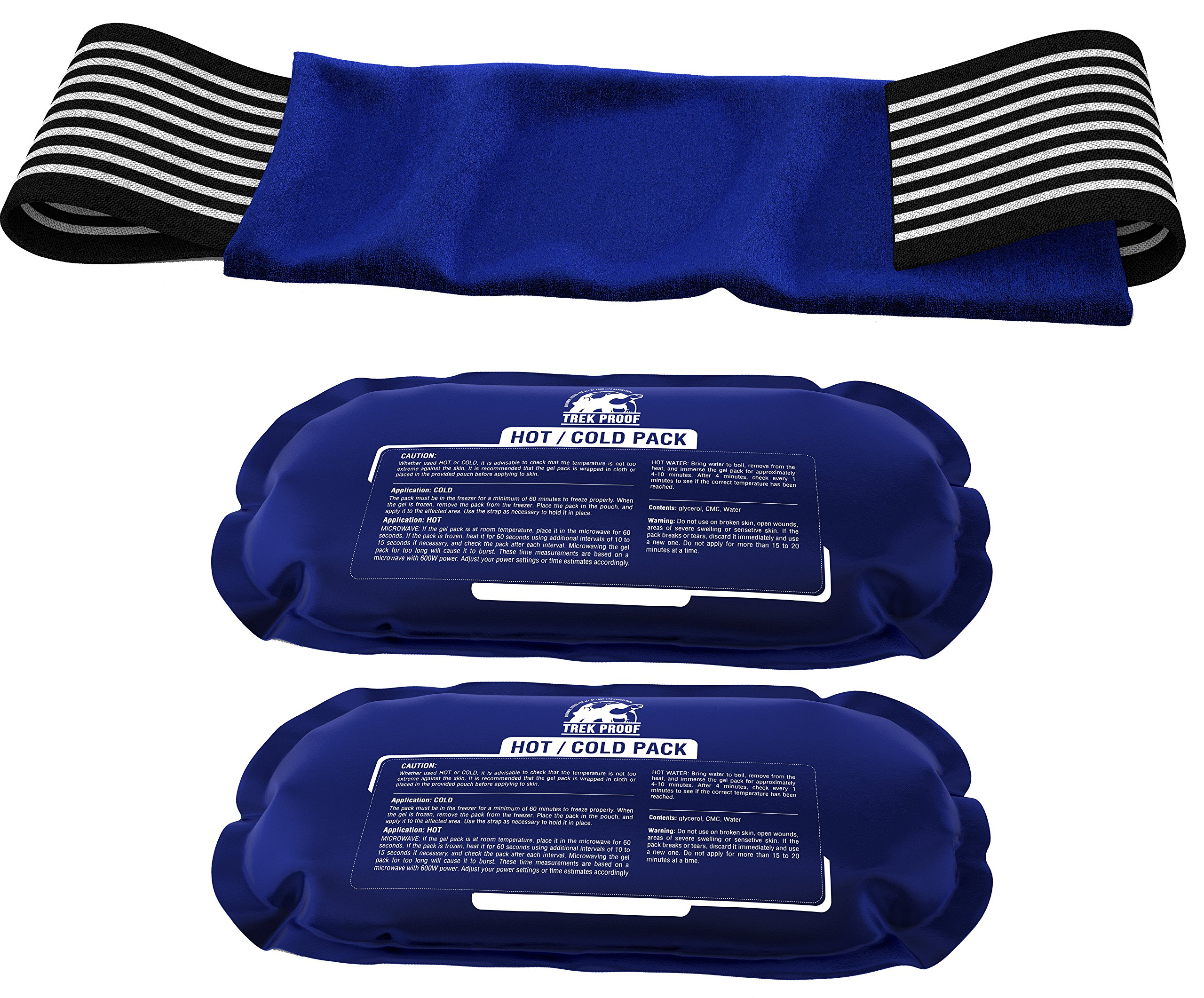 Ice Pack (2-Piece Set) – Reusable Hot and Cold Therapy Gel Wrap Support Injury Recovery, Alleviate Joint and Muscle Pain – Rotator Cuff, Knees, Back & More by TrekProof