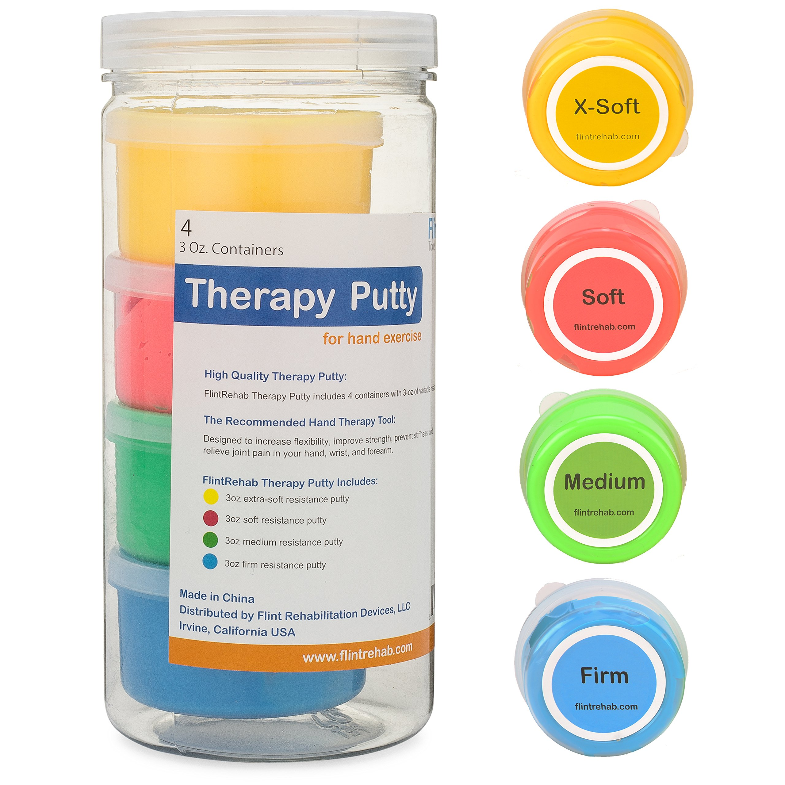 FlintRehab Premium Quality Therapy Putty (4 Pack, 3-oz Each) for Hand Exercise Rehab. Fidgeting, and Stress Relief by FlintRehab