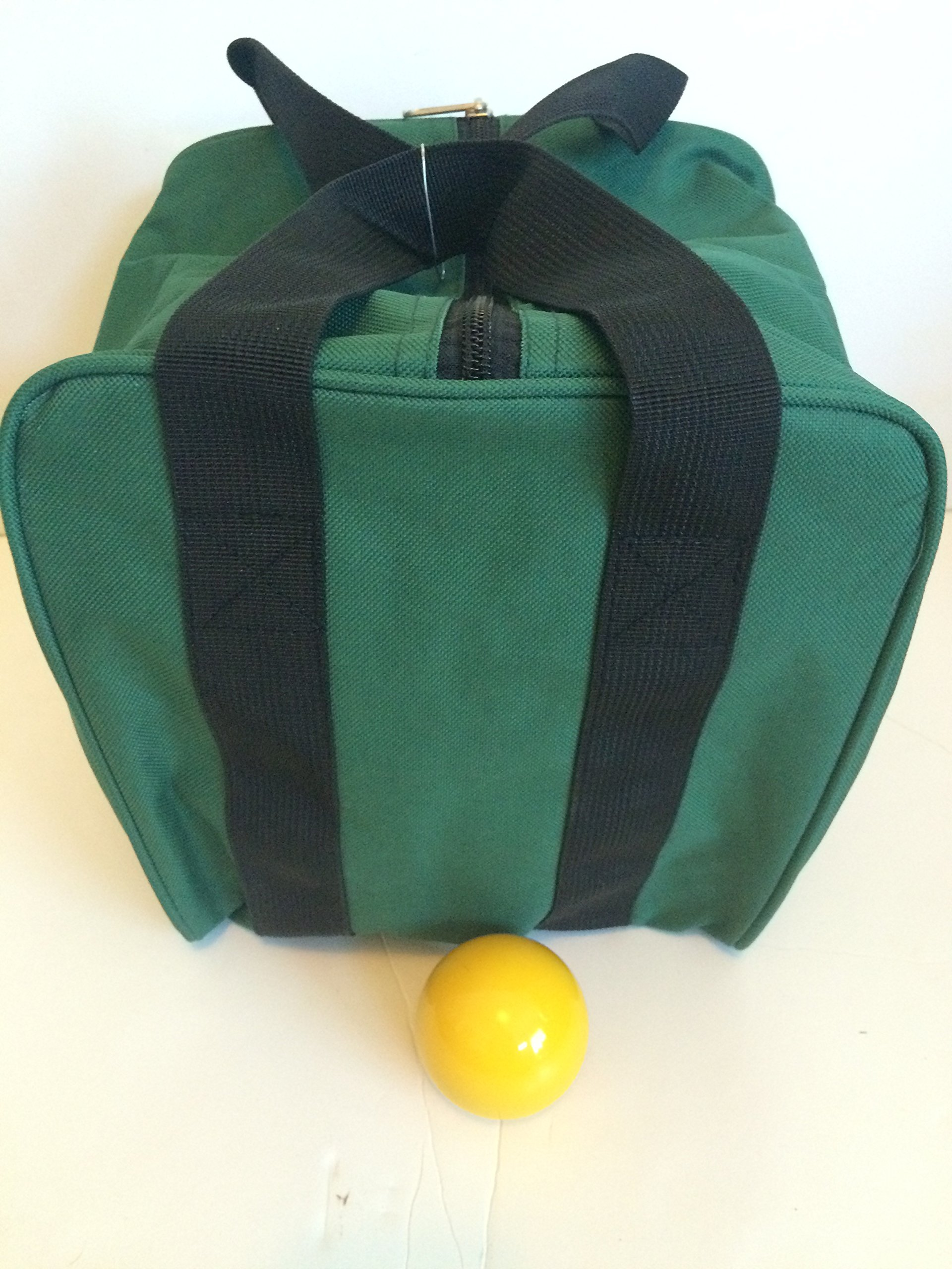 Unique Bocce Accessories Package - Extra Heavy Duty Nylon Bocce Bag (Green with Black Handles) and yellow pallina