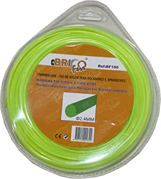 Bricoferr BF100 Hilo desbrozadora nylon perfil redondo (2,4 mm x 87 metros): Amazon.es: Bricolaje y herramientas