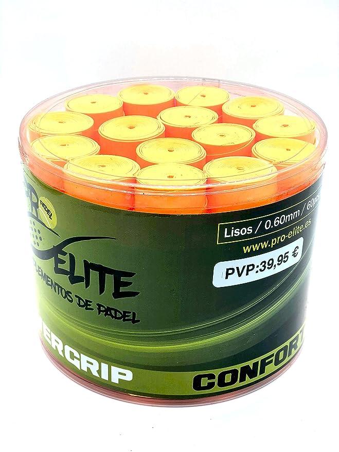 overgrips Pro Elite Confort Lisos. Bote de 60 unds. (Naranja flúor ...