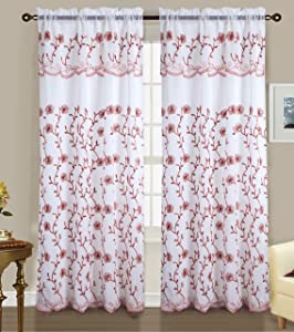RT Designers Collection Easton Embroidered 54 x 84 in. Rod Pocket Curtain Panel w/ Attached 18 in. Valance, Terracotta