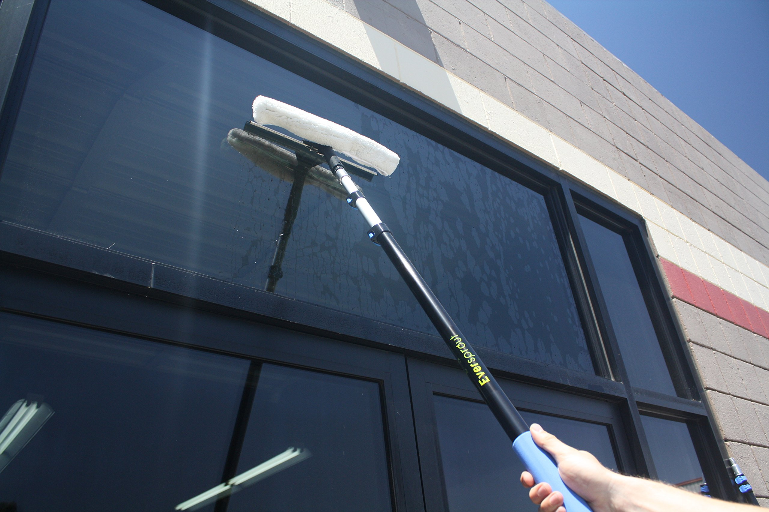 EVERSPROUT Pro-Series 7-to-20 Foot Squeegee Window Scrubber (25+ Ft. Reach) | 2-in-1 Window Cleaning Combo | Extra-Wide 16'' Squeegee with Light-Weight, Aluminum Extension Pole by Eversprout (Image #5)