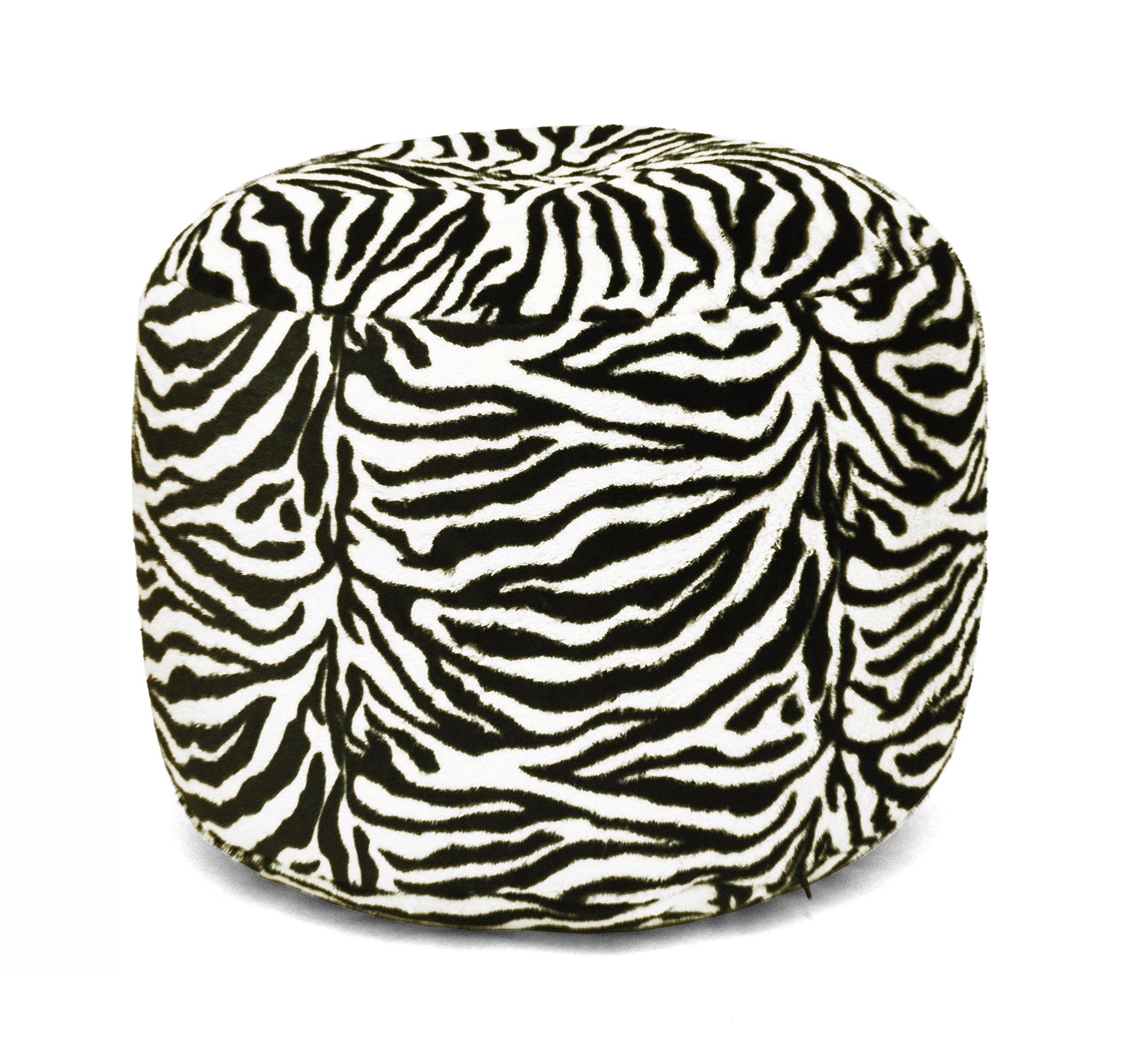 Urban Shop Faux Fur Animal Print Pouf, Zebra by Urban Shop (Image #1)