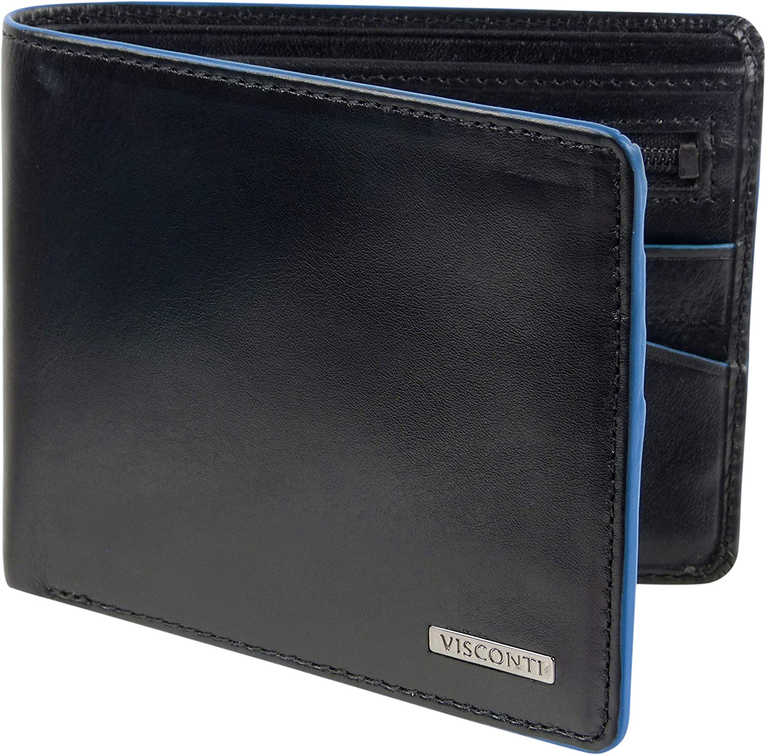 Mens Italian Leather Stylish RFID Protected Tri-Fold Wallet by Visconti Gift Box