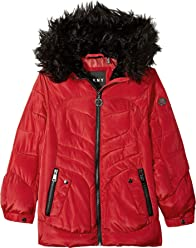 DKNY Girls Bubble Jacket with Faux Fur