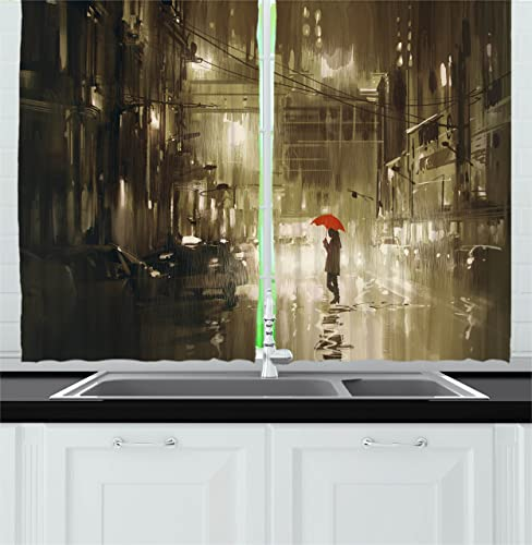 Ambesonne Urban Kitchen Curtains, Woman with Red Umbrella in Street at Rainy Night in Town Shadow Urban Scenery Artwork, Window Drapes 2 Panel Set for Kitchen Cafe Decor, 55 X 39 , Sepia