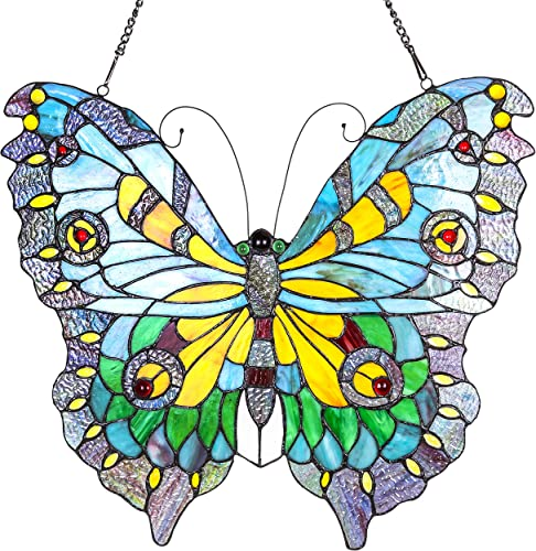 River of Goods Butterfly 20.5 Inch High Stained Glass Suncatcher Window Panel, Orange, Blue, Yellow