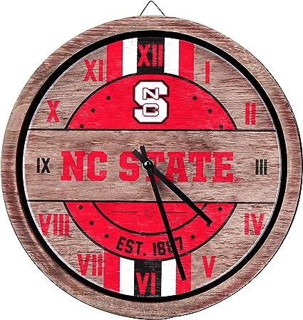One Size Team Color FOCO NCAA Georgia Bulldogs Team Logo Wood Barrel Wall ClockTeam Logo Wood Barrel Wall Clock