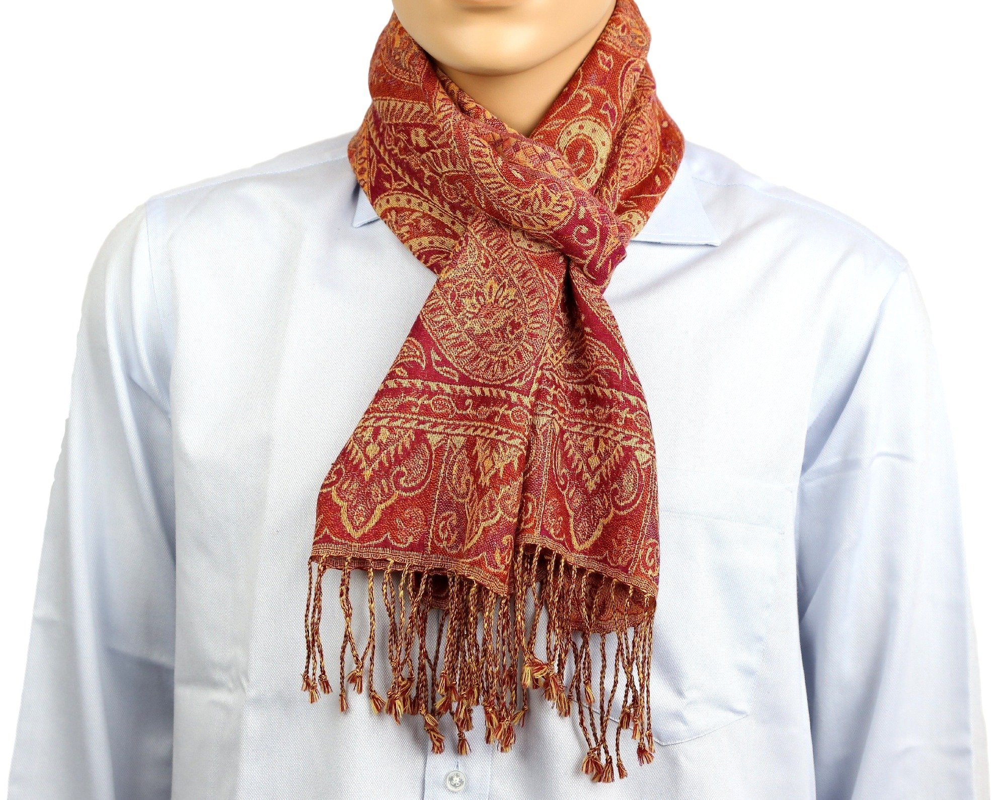 Wool Scarf Men Neck Accessories Gifts Indian Dress Paisley Design,13 X 60 Inch
