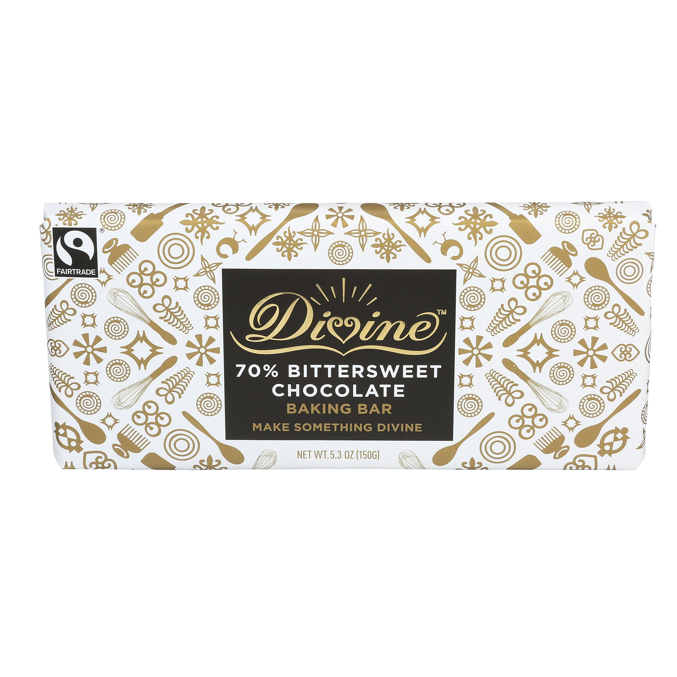 Divine Chocolate 70% Bittersweet Chocolate Baking Bar, 5.3 Ounce
