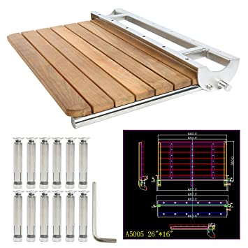 Yaemarine Teak Folding Shower Seat Wall Mounted Solid Wood Fold Down Spa Bench 26 X16