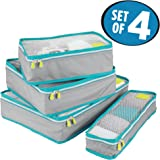mDesign Versatile Travel Storage Organizer Cubes: Mesh Tops, Integrated Handles and Two-Way Zippers: Perfect for Packing Luggage/Suitcase and Carry-On – Set of 4, Gray/Teal Blue Trim, White Zipper