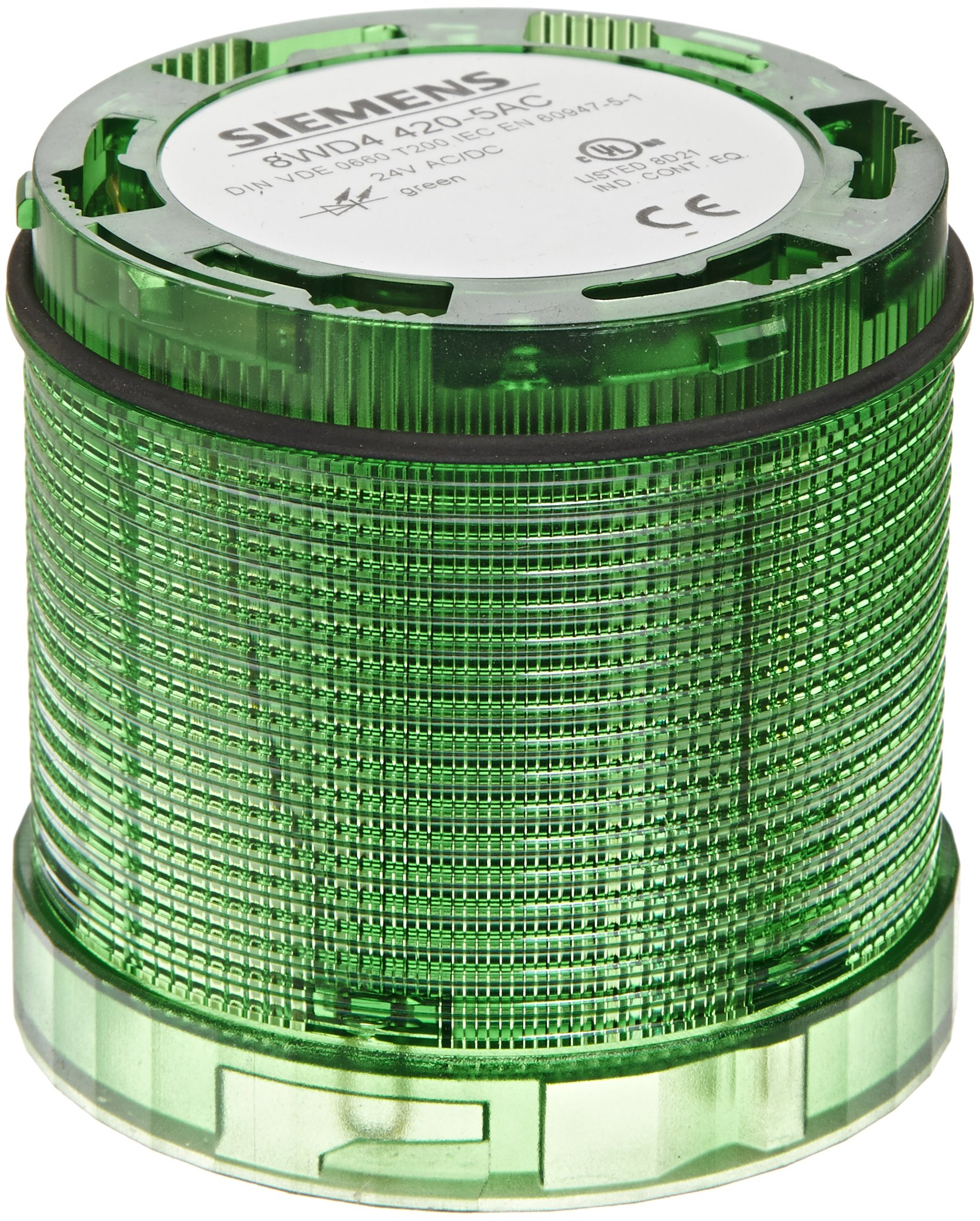 Siemens 8WD44 20-5AC Sirius Signal Column, Thermoplastic Enclosure, IP65 Protection, 70mm Diameter, Steady Light LED Element, Green, UC 24V Voltage