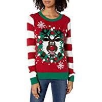 Christmas Ugly Sweater Co Womens SWP6-1160BAMZ Light-up Reindeer Wreath Long Sleeve Pullover Sweater - red