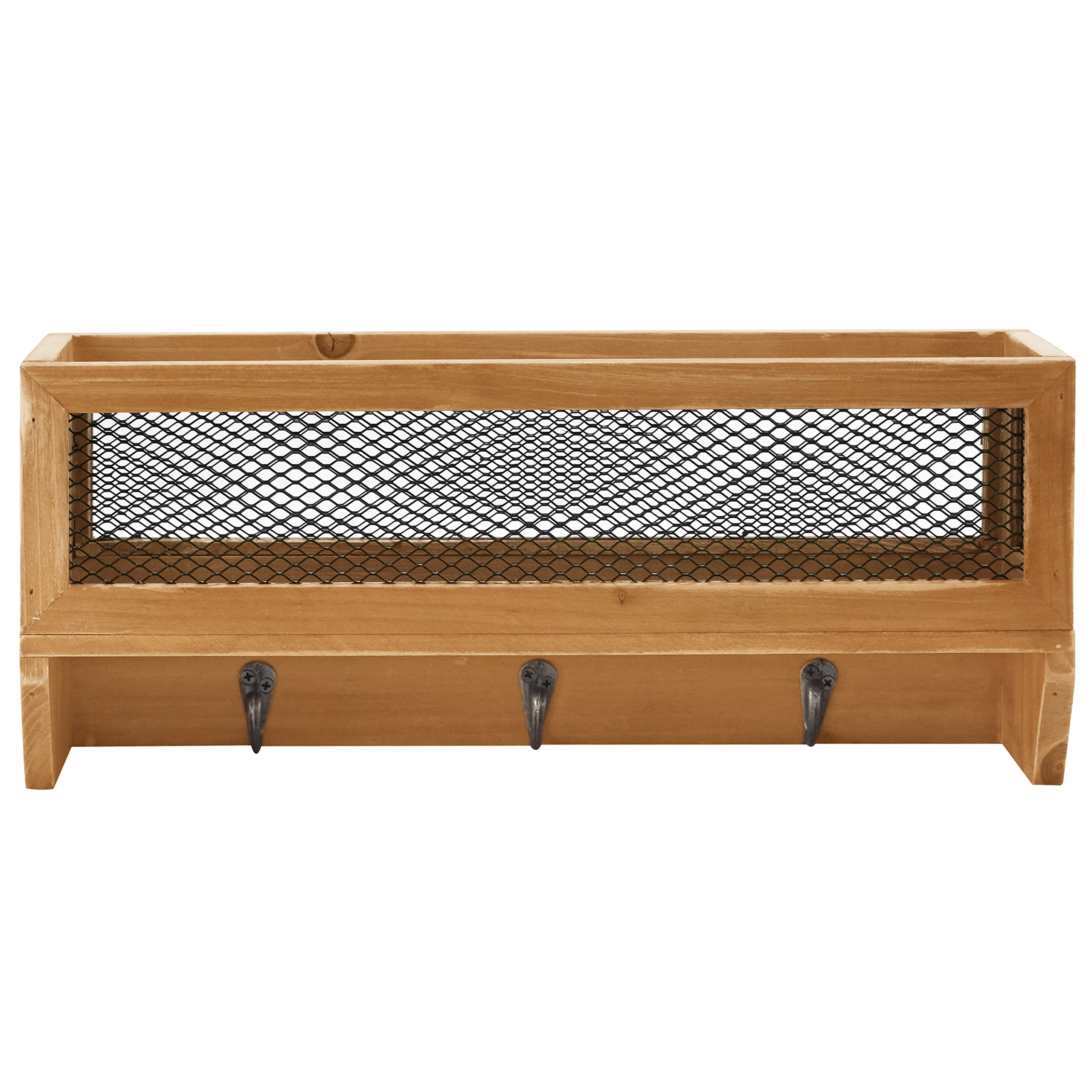 3-Hook Rustic Wooden Wall Mounted Entryway Organizer Rack with Metal Mesh Storage Basket by MyGift (Image #3)