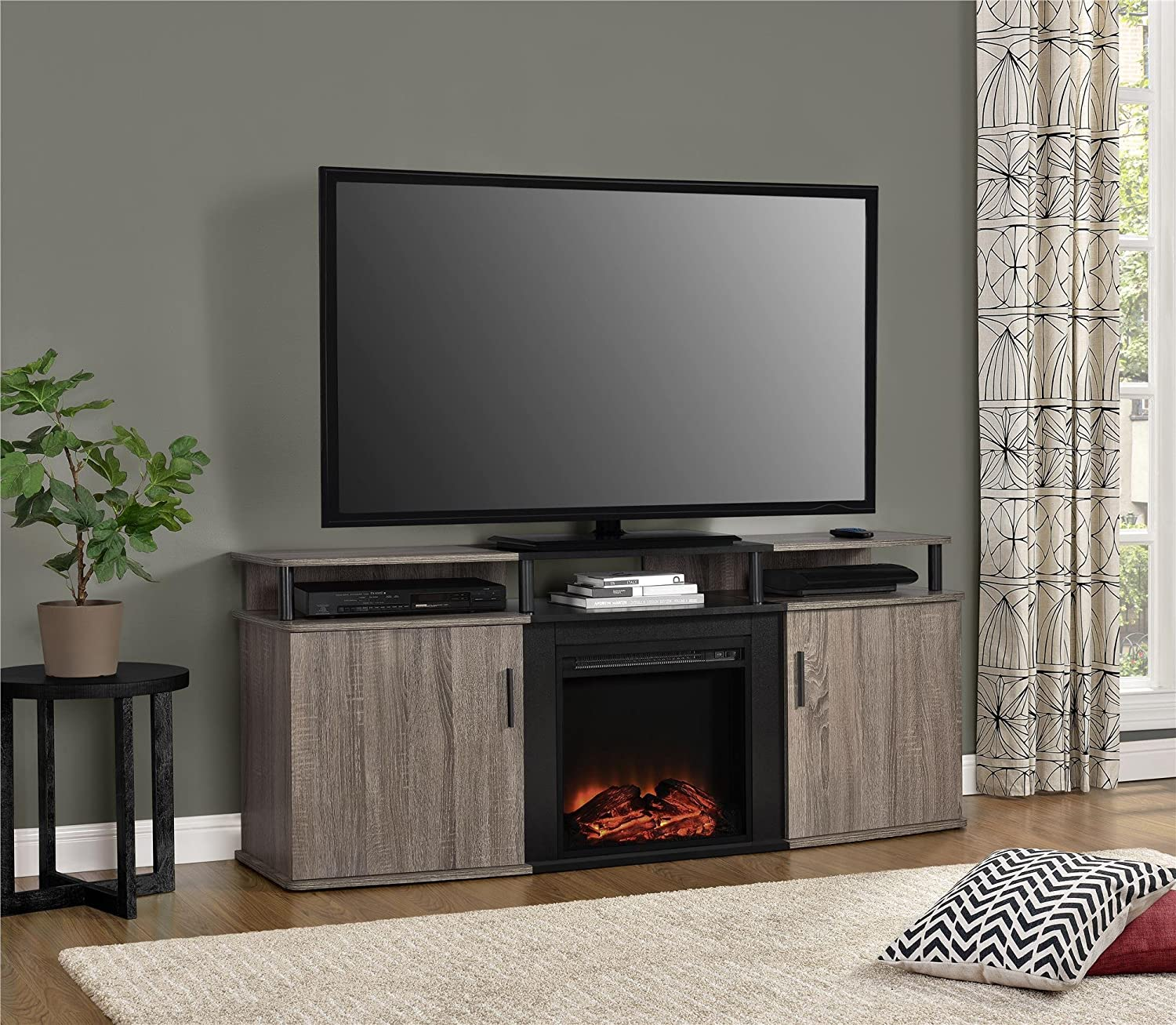 amazon com ameriwood home carson electric fireplace tv console