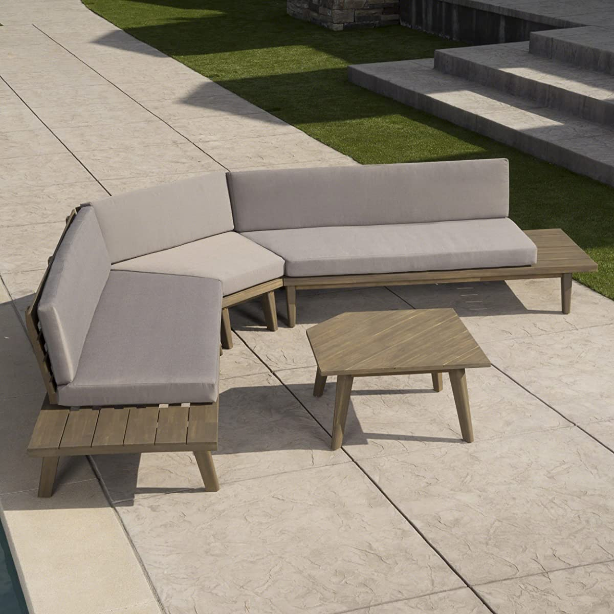 Great Deal Furniture Hillside Outdoor V Shaped 4 Piece Grey Finished Acacia Wood Sectional Sofa Set with Grey Water Resistant Cushions