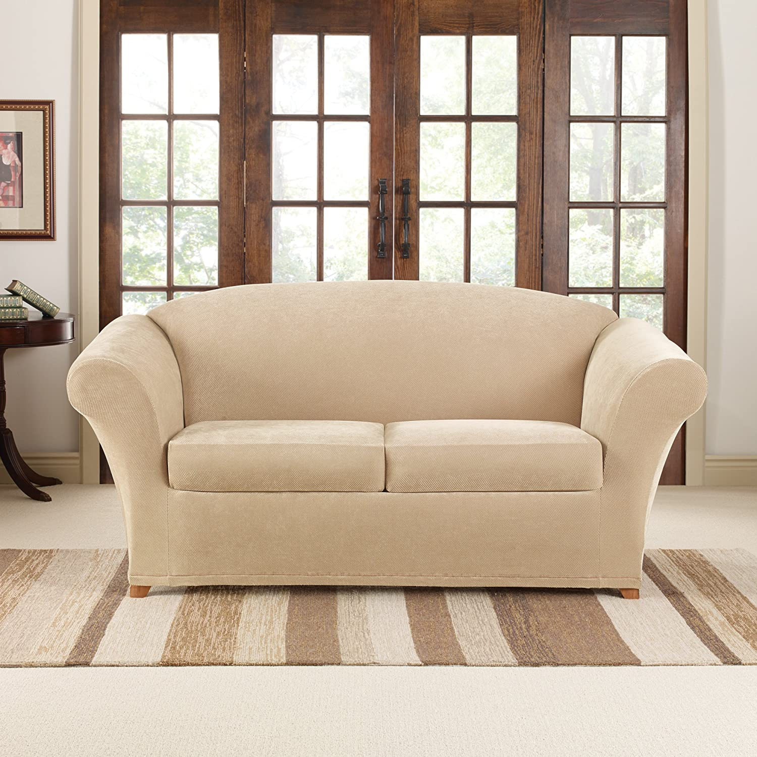 SURE FIT Stretch Pique 2-Seat Individual Cushion Loveseat Covers Cream SF43507