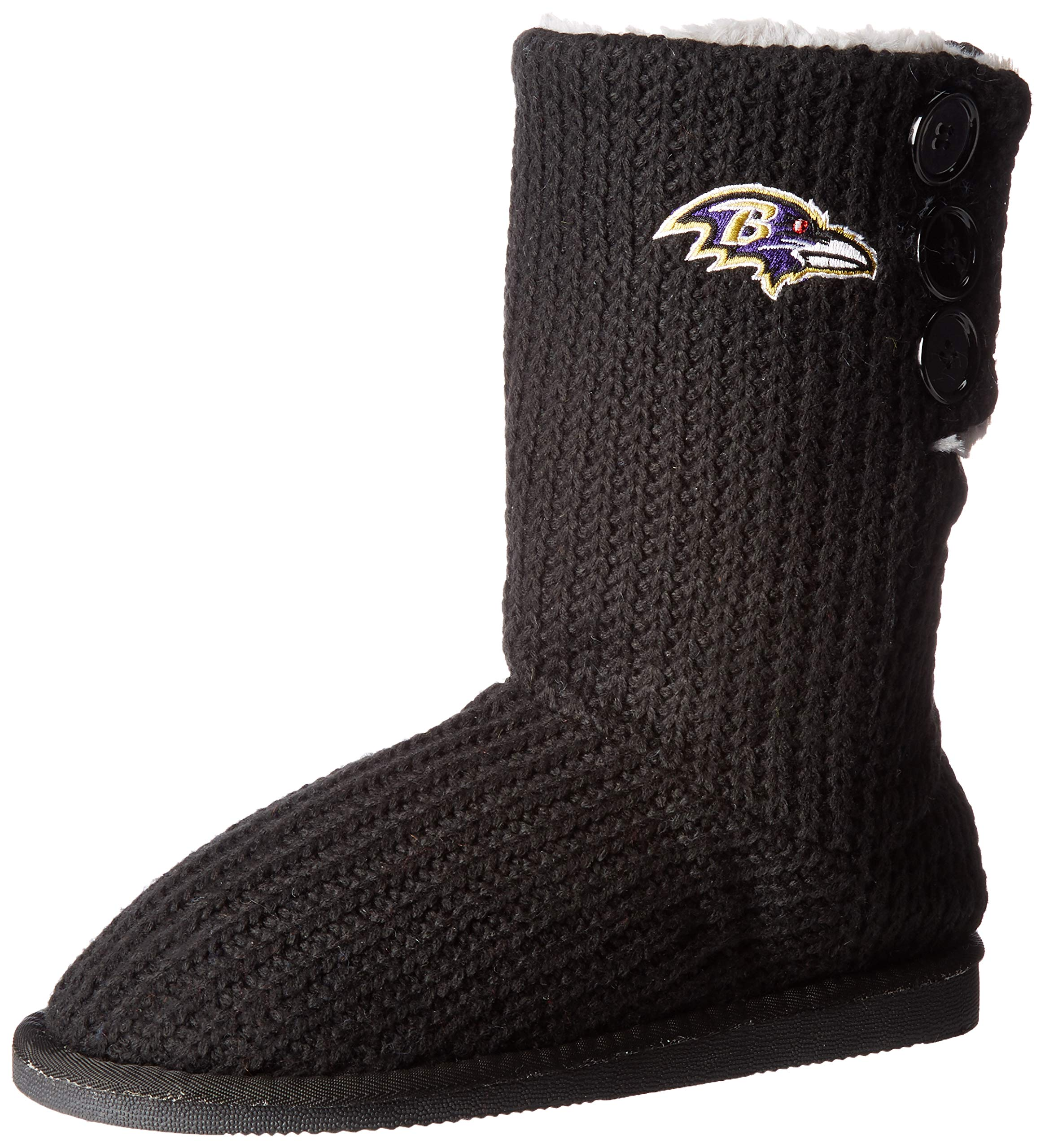 Baltimore Ravens Knit Team Color High End Button Boot Slipper Medium
