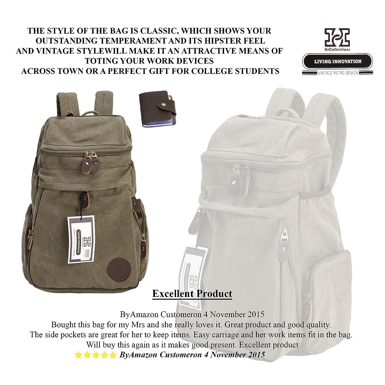 Viaje Vintage lienzo Mensajero Mochila Deporte mochila Camping escuela  Satchel bolso senderismo Militar portátil bolsa equipaje de mano + libre  tipo cartera ... 7c0d512615c2a
