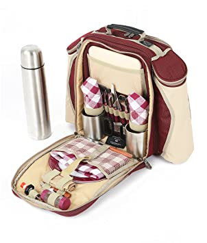 Greenfield Collection Super Deluxe - Mochila de picnic para dos personas, color rojo cereza