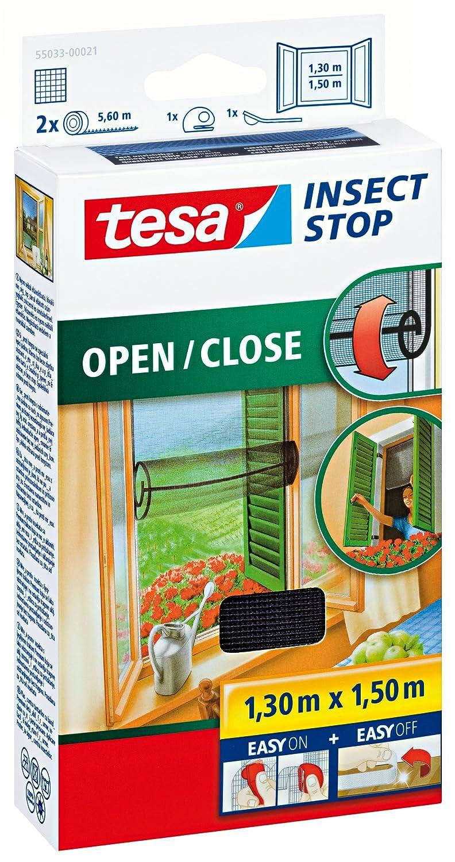 Tesa 55033-21-00 Zanzariera apri e chiudi, 130x150 cm, colore: Antracite 55033-00021-00