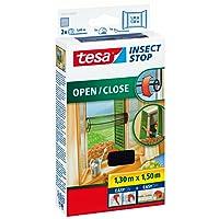 tesa Fliegengitter für Fenster zum Öffnen und Schließen, durchsichtig, bis 1,3m x 1,5m