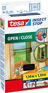 tesa UK Tesa Mosquito, Fly and Insect Open/Close Screen for Windows 1.3 M X 1.5 M (Max) Black