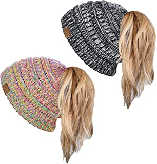 951e7561fc6 Funky Junque CC BeanieTail Womens Ponytail Messy Bun Beanie Multi Color  Ribbed Hat Cap