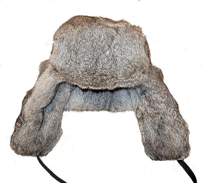 d3d2ff998 Rabbit Fur Russian Ushanka Winter Hat - Trapper Bomber Hat with Ear ...