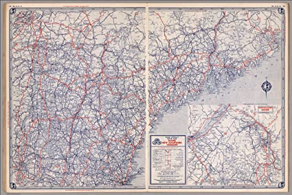 Amazon.com: Map Poster - Road map of Maine, New Hampshire, Vermont ...