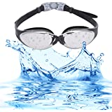 Bezzee-Pro Swim Goggles, Anti Fog, UV Protection, Unisex Swimming Goggles with Flexible Nose Bridge, Adjustable Silicone Head Strap and Protective Case for Adults Men & Women
