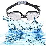 Bezzee-Pro Gafas de Natación Anti Niebla Ajustable Correas Gafas Natación para Hombres Mujeres Adultos con Estuche Protector (Negro, Lente Espejo)