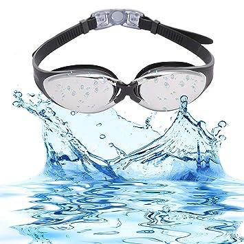 8da868621d Bezzee-Pro Gafas de Natación Anti Niebla Ajustable Correas Gafas Natación  para Hombres Mujeres Adultos con Estuche Protector (Negro, Lente Espejo):  ...