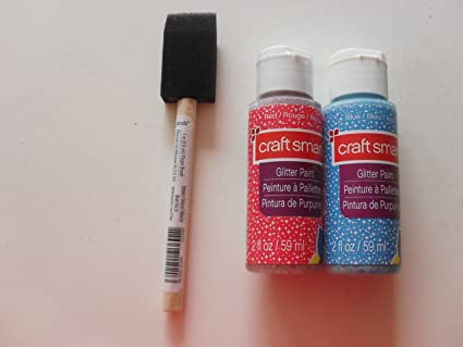 2 fl oz Glitter Paint By Craft smart ant a sponge stick (Red and blue