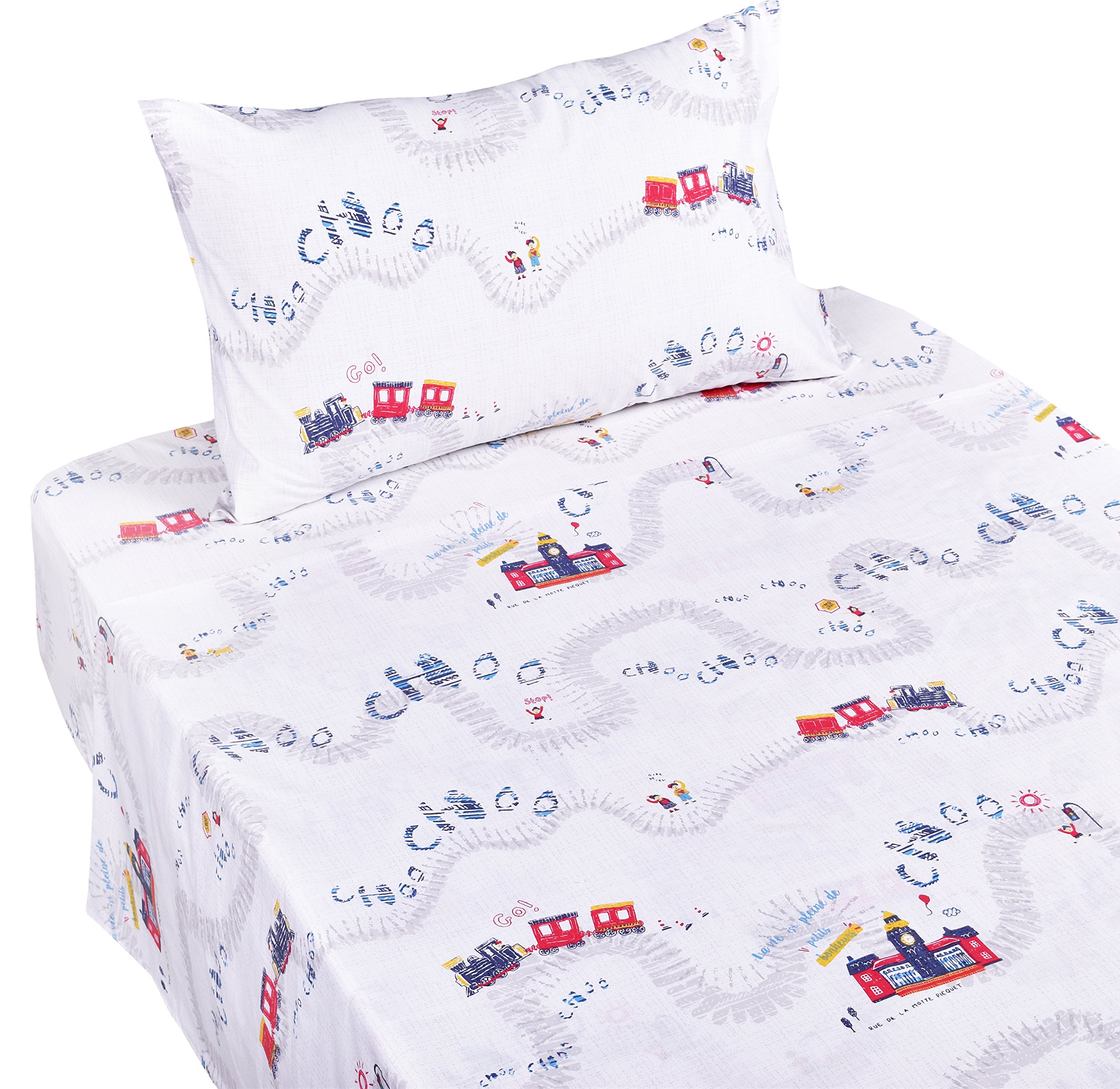 J-pinno Train Travel Twin Sheet Set for Kids Boy Children,100% Cotton, Flat Sheet + Fitted Sheet + Pillowcase Bedding Set
