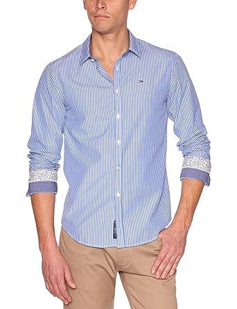 b7385f2c Tommy Hilfiger Thomas Longsleeves Stan Stripe Men's Shirt Deep Cobalt/Classic  White Large: Amazon.co.uk: Clothing