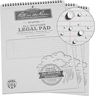 "product image for Rite In The Rain Weatherproof Legal Pad, 8.5"" x 11"", Gray Cover, Legal Pattern, 3 Pack (No. LP785X3)"