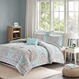 Comfort Spaces - Adele Comforter Set - 4 Piece - Aqua & Grey - Medallions Print - Queen Size, includes 1 Comforter, 2 Shams, 1 Decorative Pillow