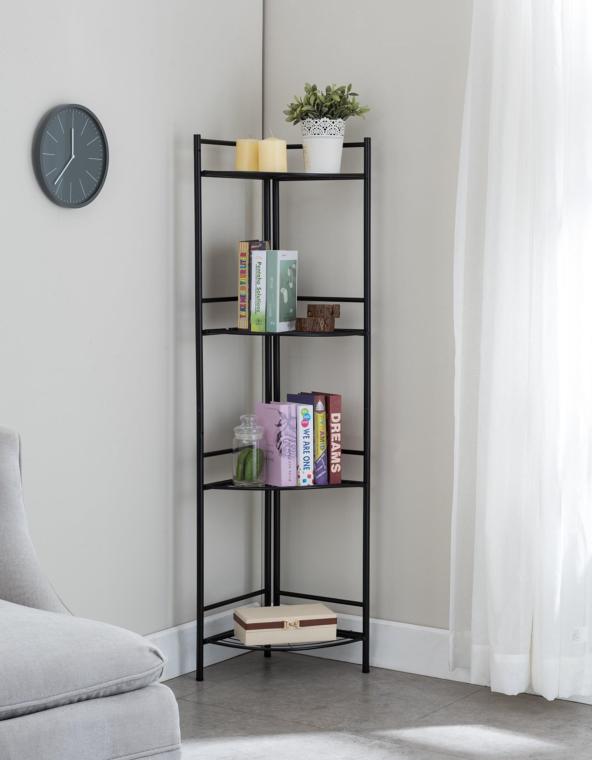None 4-tier Black Finish Metal Frame Corner Bookshelf Bookcase Display Shelf Bathroom Storage