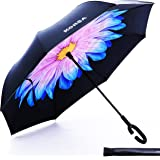 Double-layer Windproof Inverted / Reverse Inside-Out Folding Umbrella, Self-standing, Hands free C-Shaped Handle, Waterproof, UV Rain Sun Protection, Ideal for Car Outdoor Travel Use with Carrying Bag
