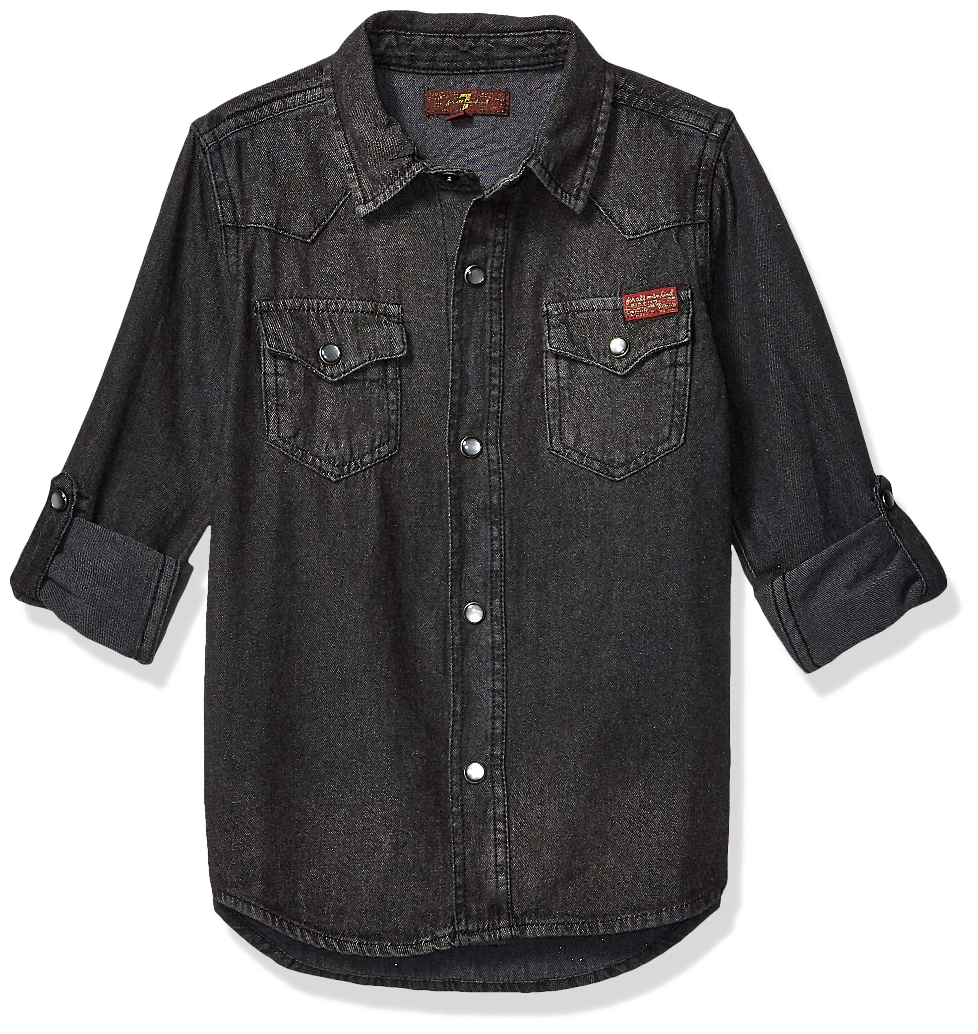 7 For All Mankind Kids Boys' Big Long Sleeve Western Shirt, Black Out M