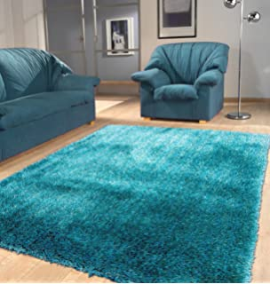 Shaggy Viscose Solid Collection Turquoise Area Rug Hand Tufted Approximate Size 2