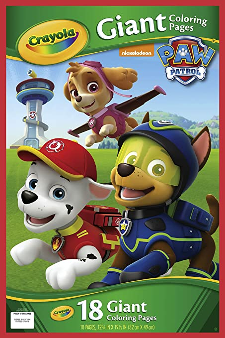 Amazon Com Crayola Paw Patrol Giant Coloring Pages Toys Games