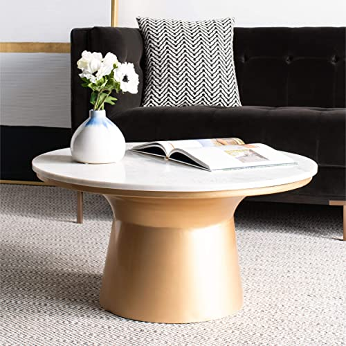Safavieh Home Mila White Marble and Brass Pedestal Round Coffee Table