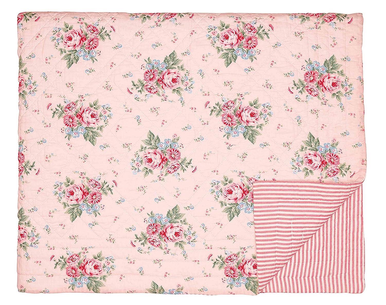 GrünGate Tagesdecke Quilt Marley in Pale Pink 140 X 220 cm gesteppt Baumwolle
